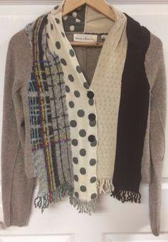 Charlie & Robin Anthropologie Wool Blend Cardigan Sweater Size Small Scarves EUC #CharlieRobin #Cardigan