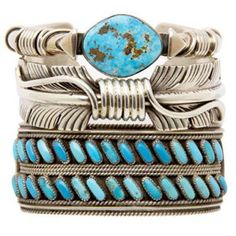 Stacked southwestern bracelets: sterling & turquoise