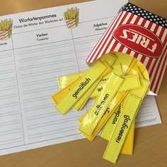 Wortartenpommes Similar to Wortartenpopcorn, but this time with heavier nouns and all nouns are written in lower case, so the noun sample must be used! Primary School Teacher, Primary Education, School Classroom, Learn German, Learn English, Languages Online, Foreign Languages, Classroom Language, Teaching Materials