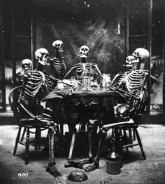 """Six Skeletons Smoking c.1865 I WANT THIS IN MY """"GAME ROOM"""" INSTEAD OF THOSE STUPID DOGS PLAYING POKER..Everyone knows dogs can't play poker....duh"""