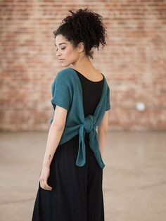 Tuberose is a free knitting pattern for a sweet summer tee with a dramatic back, knit in Berroco Maya. Download the free pattern at Berroco.com.