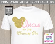 Make your own t-shirt / shirt with the printable Uncle of the Birthday Girl iron on transfer. Perfect for a birthday party or family trip. Use promo code PINTEREST10 to save 10% off your purchase. Coordinating transfers available.