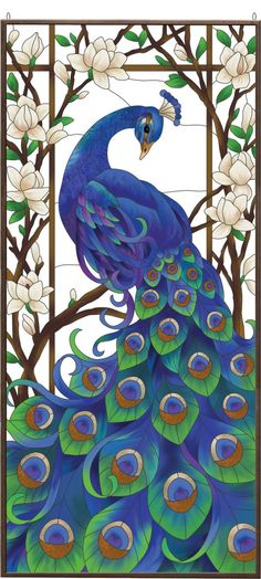 Peacock Stained Glass Art Panel. by Hélène Thibault