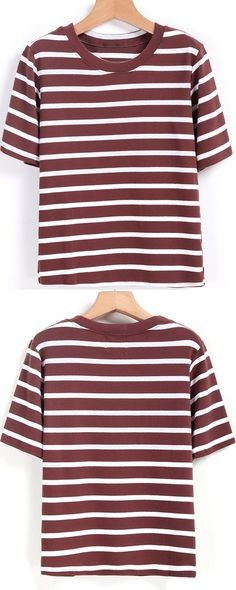 Stripe T-shirt is always so stylish. Any color is so fashion.i prefer a coffee one ,for i have a black one before!//Round Neck Striped Coffee T-shirt.