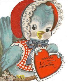 Vintage bluebird with a bonnet Valentine. My Funny Valentine, Valentine Images, Vintage Valentine Cards, Vintage Greeting Cards, Valentine Crafts, Valentine Day Cards, Happy Valentines Day, Printable Valentine, Valentine Ideas