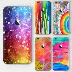 Rainbow color Capa For Apple iPhone 6 6S Phone Case Transparent Soft TPU Painting coque Star Graffiti Back Cover