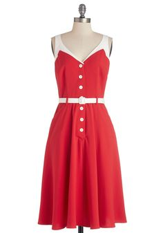 Sense of Tasteful Dress in Rouge. When a fashion maven like you comes across a dress with finesse, you can feel it instantly. #red #modcloth