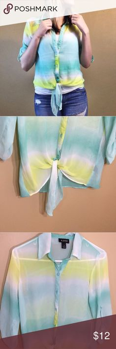 Sheer tie bottom top Sheer stripe 3/4 sleeve button up top with tie bottom. A. Byer Tops Button Down Shirts