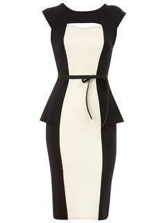 Black illusion peplum dress