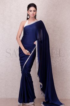 Midnight Blue Sheathed Blouse Saree | Satya Paul