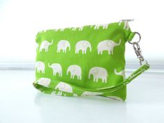 Green Elephant Wristlet by MoonberryStarberry on Etsy