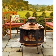Recycled Turkish Copper Firepit/Chiminea Combo with Extra-Deep Basin