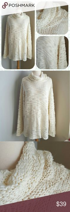 Free People Deegan Oversized Pullover Nothing but ivory envelopes this oversized dream of comfort with a big cowl and acrylic knitting. Super soft, super cozy.  No tags; very sure it is FP. Oversized and would best fit a large or extra large. Excellent condition. Free People Sweaters Cowl & Turtlenecks