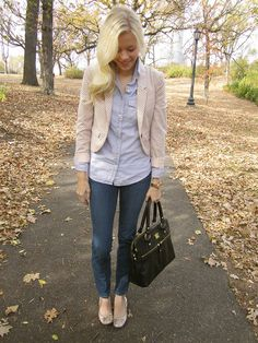 dotted blazer, chambray shirt, jeans and flats.