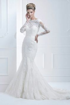 2010 New Fashion White Ivory Mermaid Long Sleeve Lace Wedding Dresses Custom Love This
