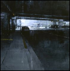 San Francisco based artist Jeremy Mann draws his inspiration from his urban surrounding, painting an intimate and dynamic city, full of drama, mood, and personality. His style is unique, as he uses multiple painting techniques on wood panels, imbuing  his compositions with vivid and atmospheric colors.