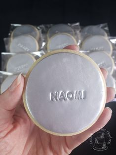 Silver personalised cookies. www.facebook.com/cakesbyleannerhodes
