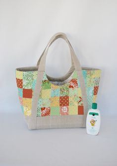 patchwork poolside tote