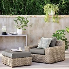 All-weather and all-style, these outdoor cushions and outdoor pillows will bring a touch of the indoors to the outdoors, pulling your home together all the way through to the exterior. Patio Lounge Furniture, Outdoor Lounge Chair Cushions, Outdoor Couch, Best Outdoor Furniture, Outdoor Garden Furniture, Outdoor Rooms, Furniture Decor, Outdoor Living, Crates