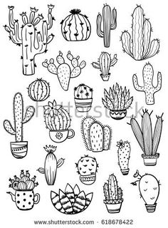 of isolated black sketch cactus and succulent icons. Houseplant and wild cac. Set of isolated black sketch cactus and succulent icons. Houseplant and wild cac. - -Set of isolated black sketch cactus and succulent icons. Houseplant and wild cac. Doodle Drawings, Easy Drawings, Doodle Art, Tattoo Drawings, Cactus Doodle, Cactus Art, Cactus Flower, Stick N Poke Tattoo, Stick And Poke