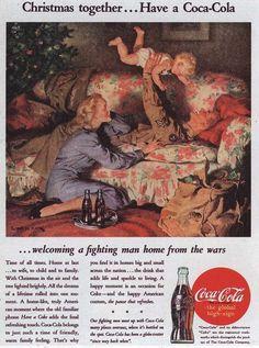 1945 Coca-Cola Coke Christmas Together Post War Vintage Print Ad Coca Cola Christmas, Christmas Ad, Vintage Christmas, Vintage Signs, Vintage Ads, Vintage Prints, Vintage Food, Retro Ads, Vintage Stuff