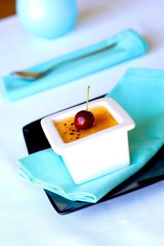 Red cherry Creme Brule Sugar Rush, Panna Cotta, Cherry, Ethnic Recipes, Desserts, Red, Tailgate Desserts, Dulce De Leche, Deserts