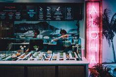 Island-poke-interior-design-restaurant-hospitality-design-branding-neon-sign-graphic-design-cool-london - Run For The Hills Cool Restaurant Design, Cafe Menu Design, Bar Interior Design, Restaurant Branding, Poke Bowl, Neon Design, Graphic Design, Hawaiian Restaurant, Sign Board Design