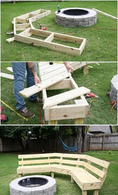 So many good wooden bench, table and other outdoor wooden ideas