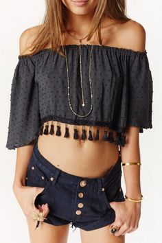 43938913d042f2 Off The Shoulder Fringed Chiffon Blouse