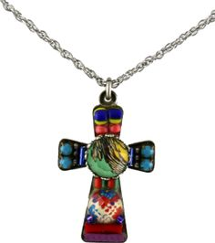 The cross is 1 1/2″ X 1.2″. The chain is adjustable 16-20″.