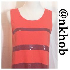 Pretty sequin striped tunic tank Love this sequined tank. Perfect for summer with some cute capris or a skirt Ming Tops Tank Tops