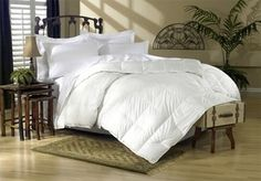 """Luxury 500 Thread Count 100% Egyptian Cotton  Oversized comforter dimensions for extra coverage that better fits today ticket mattresses Full/Queen size 90x90"""" with 50oz. King/Cal King size 106x90"""" with 60oz.  Hypoallergenic: The down is hyper cleaned for allergy free comfort."""