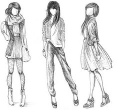 """"""" 3 girls , no faces - 1 punky , 2 casual , 3 cutesy choose your look and your lifestyle add some colour and interpret it in your own way """""""