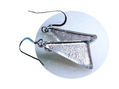 Your place to buy and sell all things handmade Triangle Shape, Pad Design, Fused Glass Jewelry, Dichroic Glass, Beautiful Earrings, Silver Color, Silver Plate, Dangle Earrings