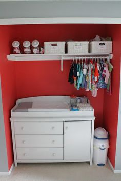 Love this idea: put dresser/changing table in the closet. Baby clothes are so mini anyways