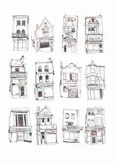 Shop fronts doodles illustrations by Melody Seal Building Illustration, Illustration Art, Drawing Sketches, Art Drawings, Drawing Ideas, Contour Drawings, Pencil Drawings, Drawn Art, House Drawing