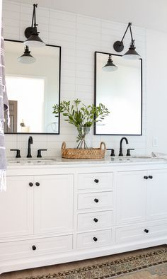 Home Interior Bedroom Modern Farmhouse Master Bathroom Renovation with Delta: The Process & Reveal.Home Interior Bedroom Modern Farmhouse Master Bathroom Renovation with Delta: The Process & Reveal Bad Inspiration, Bathroom Inspiration, Bathroom Inspo, Bathroom Vanity Decor, Bathroom Modern, White Bathroom Cabinets, Bathroom Hardware, Bathroom Fixtures, Bathroom Sinks