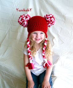 Girl Hat Chunky Pom Pom Hat Candy Cane Valentines Day by YumbabY, $21.95  Super cute!