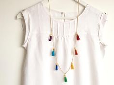 RAINBOW Multi-Tassel Necklace /Colourful Long Necklace with 7 Tassels - Crickett Diy Necklace, Tassel Necklace, Necklaces, Bracelets, Make Your Own Jewelry, Jewelry Making, Tassel Jewelry, Light Turquoise, Easy Wear