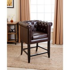 Abbyson Chesterfield Dark Brown Leather Counter Stool