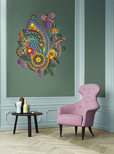 kcik129 Full Color Wall decal flower decoration Indian living room bedroom