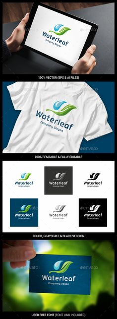 Water Leaf - Logo Design Template Vector #logotype Download it here: http://graphicriver.net/item/water-leaf-logo/14367099?s_rank=1681?ref=nexion