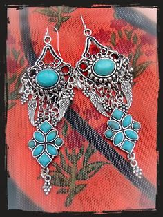 RESERVED. Cowgirl Earrings TURQUOISE Gypsy hippie by GPyoga, $45.00