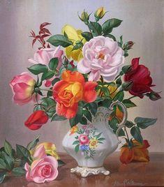 Flowers in Pitcher pieces) Art Floral, Flower Vases, Flower Art, Realistic Drawings, Flower Wallpaper, Watercolor Landscape, Beautiful Paintings, Beautiful Roses, Vintage Flowers