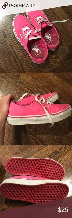 Bright pink vans! Low rise, bright pink lace up sneakers, very good condition and freshly washed, one stain on the side but very clean and vibrant colored, almost good as new. No longer sold on vans website Vans Shoes Sneakers