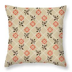 Orange Floral Pattern Throw Pillow by Christina Rollo