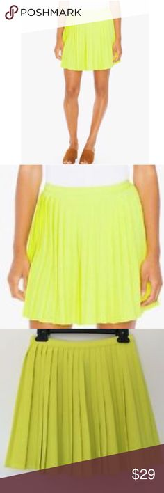 American Apparel Crepe Sunburst Pleated Skirt S&M Super cute! New, flirty crepe mini skirt, cheerleader skirt, tennis skirt, American Apparel. Sizes available Small & Medium. Side zipper entry. Cute color for all seasons, neon, bright, fluoro. Yellow green, slime, vibrant, festival style, dress up, costume, stage, theater, casual unique prom look, spring fling, warm. AA styles are now discontinued, and largely sold out. Get a piece of fashion history here. Made in USA. • 95% Polyester 5%…