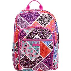 Vera Bradley Iconic Deluxe Campus Backpack - Modern Medley - School... ($102) ❤ liked on Polyvore featuring bags, backpacks, pink, light weight backpack, lightweight daypack, vera bradley tablet sleeve, strap backpack and trolley bags