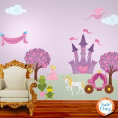 Would love to do this Wonderful Walls Princess theme in Hailey's room!