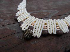 Smotanový náhrdelník, cream, vanilla, saten, copper, gold, micro-macrame, necklace